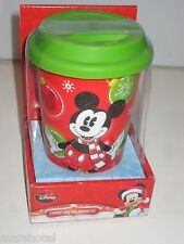 DISNEY MICKEY MOUSE 12 OZ CERAMIC HOLIDAY COFFEE CUP MUG CHRISTMAS SILICONE LID