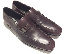 NIB $620 Salvatore Ferragamo Men Shoe Mahagony Brown Leather Svezia Loafer 12 D