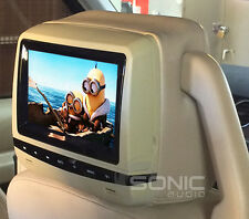 2 x Universal Beige Leather DVD/USB/SD Headrests Screen/Monitor Mercedes E-Class