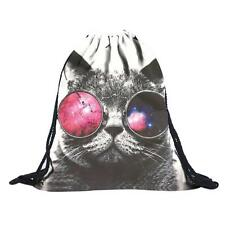 Unisex Cool Glasses Cat Emoji Backpacks 3D Printing Bags Drawstring Backpack NEW