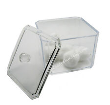 Acrylic Storage Cotton Ball Swab Pad Organizer Holder Bathroom Container Clear