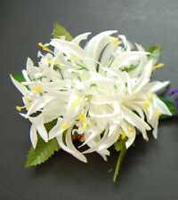 Hawaiian Party Luau White Yellow Lily Flower Leaf Ladies Hair Clip