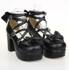 Lolita Women Cosplay Bowknot Pumps Mary jane Ankle Strap Chunky Heels Shoes Size