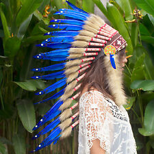 SALE PRICE!! Long Native American Indian style Feather Headdress - Blue Duck