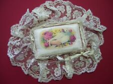 Antique Silk Lace, Ribbon, Velvet  Doll Pillow MINIATURE ~Calling Card~Print