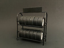 METAL TIRE RACK WITH WHEELS 1:18 SCALE DIECAST MODELS BY AMERICAN DIORAMA 77518