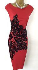 Roman dress size 18 46 USATO Wiggle Bodycon Rosso Nero Floreale Formale Estate Crew