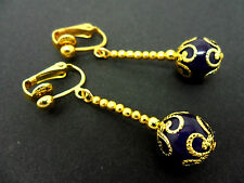A PAIR OF DANGLY PURPLE JADE  BEAD GOLD PLATED DROP CLIP ON EARRINGS.