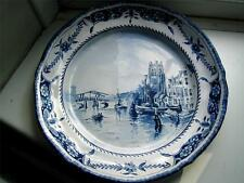 Antique Blue & white Dutch Delft pottery charger late 19thC Dutch scenery