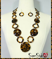 Leopard Print Animal Fashion Tortoise Links Disc Chain Necklace Earrings