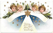 Happy New Year Postcard Angel Faces/Heads with Wings in the Stars~104057