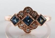 CLASSE 9k 9ct Rose Oro Blu Zaffiro Diamante Anello Art Deco INS libero Ridimensiona