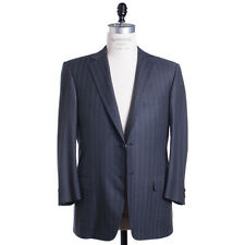 Ermenegildo Zegna Suit Size 44 (54) Charcoal Blue Chalk Stripe