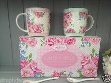Pair of Pink Vintage Rose Floral Bone China Mugs & 2 Spoons Gift Set