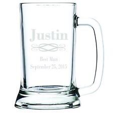 Engraved Customized Personalized Beer Mug Glass Groomsman - Best Man - Birthday