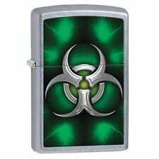 Zippo 28853, Biohazard Symbol, Street Chrome Lighter, ***6 Extra Flints/Wick***