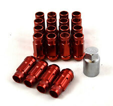 NNR Steel Extended Wheel Lug Nuts & Locks Open Ended Red 49mm 12x1.5 20pcs