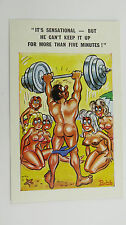 60s Risque Saucy Funny Postcard Blonde Big Boobs Weightlifting Nude Bodybuilding