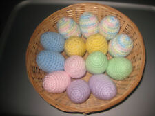 12 Handmade Crochet pastel EGGS pretend PLAY FOOD amigurumi FUN TOY Kitchen