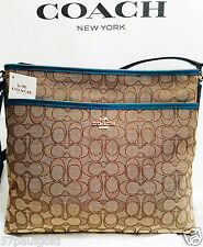 NWT COACH 55363 SIGNATURE FILE BAG MESSENGER CROSSBODY KHAKI ATLANTIC BRAND NEW!