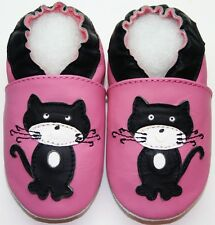 Mini Shoezoo cat black pink 12-18 m soft sole walking toddlers girl shoes