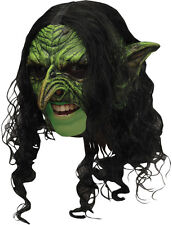 Wicked Green Goblin or Orc or Witch Mask With Hair TB27539