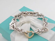 Tiffany & Co Heart Link Bracelet in Silver and 18K Gold 7.8 Inches Box Pouch