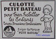 PUBLICITE PETIT BATEAU CULOTTE SOUS VETEMENT POUR ENFANTS DE 1929 FRENCH AD PUB
