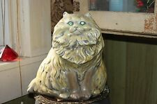 VINTAGE LARGE CERAMIC GREEN EYED PERSIAN CAT FIGURE HANDPAINTED BANK  131