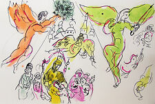CHAGALL - ANGELS OVER PARIS -ORIGINAL LITHOGRAPH - 1964  - FREE SHIPPING IN US