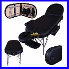 BLACK ALU LITE PORTABLE MASSAGE TABLE BED SPA REIKI COUCH BEAUTY THERAPY PAD