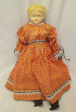 "Antique 18"" Early German Paper Papier Mache Head Doll w/ Clothes"