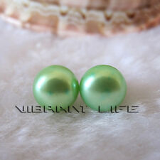 9.0-9.5mm Pale Green Button Freshwater Pearl Stud Earrings  Post U