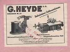Dresda, Pubblicità 1939, G. Heyde kg parte macchine