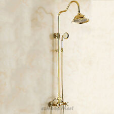 "Gold Polished Brass Bathroom 8"" Rain Shower Head Kit Shower Faucet Set Mixer Tap"