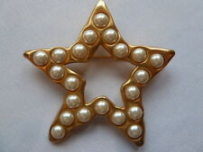 Vintage Statement Gold Star and Pearls Lapel Glam Fashion Brooch Pin