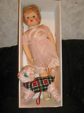 "Vintage Doll 1950's Plaything Stuffed Vinyl/Rubber 24""-Sleep Eyes-pink poodle"