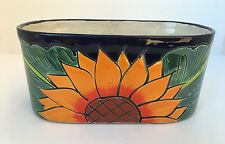 "MEXICAN TALAVERA FLOWER PLANTER POT CERAMIC POTTERY SMALL 9.5"" LONG SUNFLOWER"