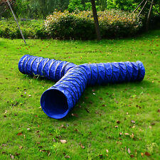PawHut Cats Dogs Agility Training Tunnel Exercise Triple 3 ways Pet Collapsible