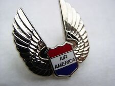 AIR AMERICA FLYING WINGS Lapel Pin Silver Tone Airplane Flight Wings