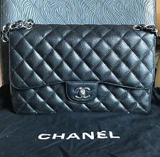 Auth. CHANEL JUMBO BLACK Quilted CAVIAR Leather Classic DOUBLE Flap Bag w/SHW