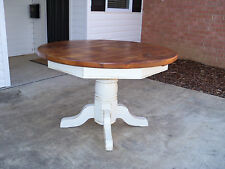 """Amish made reclaimed barn wood 48"""" round pedestal kitchen dining table"""