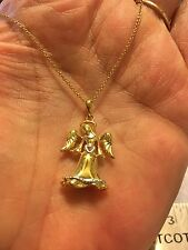 925 STERLING SILVER 18k GOLD VERMEIL  ANGEL NECKLACE PENDANT W/ DIA ACCENTS