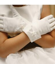 GIRLS WHITE SATIN BEADED  HOLY COMMUNION/BRIDESMAID GLOVES WITH BEADS AND BOW