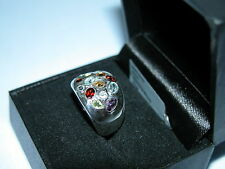 LOT 73 STUNNING MULTI GEMSTONE SOLID STERLING SILVER RING SIZE J 1/2