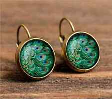 peacock feathers bronze Glass cabochon 18 mm Lever Back Earrings Jewelry #2324