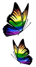 PAIR Of Butterflies Design With LGBT Gay Pride Rainbow Flag vinyl car sticker