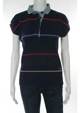 AUTH MARC BY MARC JACOBS Blue Cotton Short Sleeve Crew Neck Knit Top XS