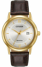 Citizen Eco Drive Men's Gold Tone Stainless Steel Leather Strap Watch AW1232-04A