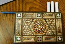 VINTAGE MOSAIC CIGARETTE OR CIGAR CASE WITH SLIDING PANEL - MARQUETRY - TREEN